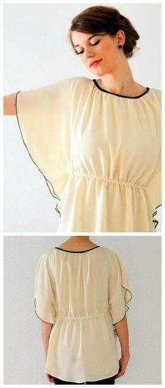 Luftiges Oberteil, Tunika Stil, in Weiß mit schwarzer Ziernaht, lässiges Sommer Outfit / casual summer outfit: white oversized blouse made by LeFeOs via DaWanda.com