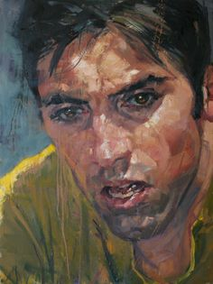 "Art of Karl Kopinski (UK: 1971) -  Portrait of Belgian former professional road and track bicycle racer Eddy Merckx aka ""the cannibal"" - 60cm x 80cm oil on linen"