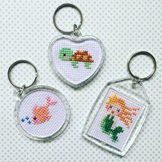 Cross Stitch Keychains #tutorial