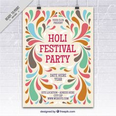 More than a million free vectors, PSD, photos and free icons. Exclusive freebies and all graphic resources that you need for your projects Holi Poster, Shape Posters, Festivals Around The World, Happy Holi, Color Shapes, Festival Party, Vector Free, Typography, Graphic Design