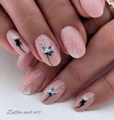 Elegant Nails, Stylish Nails, Trendy Nails, Manicure Nail Designs, Nail Manicure, Rose Gold Nails, Purple Nails, Dandelion Nail Art, Nagellack Design