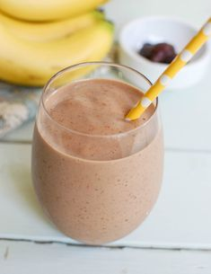 This simple Banana Date Smoothie uses milk, yogurt, bananas and dates to create a creamy breakfast smoothie or afternoon pick-me-up.