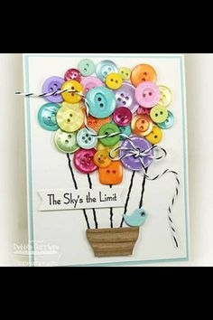 Scrapbook and Paper Craft Projects featuring Buttons Cute Cards, Diy Cards, Tarjetas Diy, Button Cards, Button Button, Creative Cards, Scrapbook Cards, Homemade Cards, Cardmaking