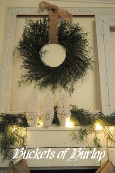 Wreath in empty frame....just bought two this weekend. Keep the ideas flowin!
