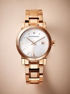 Women's City Rose Gold Watch by Burberry at Gilt Burberry Watch, Burberry Gifts, Rolex, Jewelry Accessories, Fashion Accessories, Daniel Wellington, Rose Gold Watches, Beautiful Watches, Luxury Watches