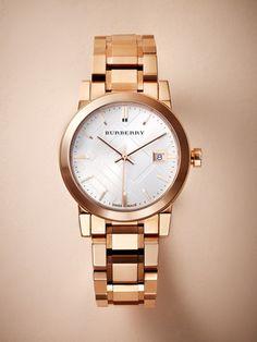 Burberry women's city, rose gold watch. #burberry.com