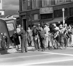A film crew preparing to shoot on the streets of Glendale, circa 1935-1940. Glendale Central Public Library. San Fernando Valley History Digital Library.