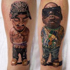 Xavier | Tupac Shakur tattoo by Denis Torkshavili. #2pac #TupacShakur #rapper #portrait #DenisTorkshavili #chibi #caricature | Tattoodo