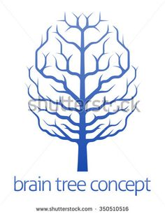 A conceptual illustration of a tree growing in the shape of a human brain - stock vector