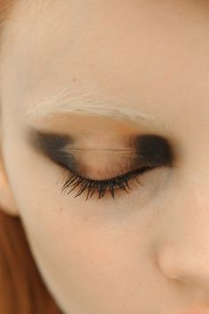 eye shadow - black creamy fade tan and nude  creamy fair skin blond eyebrow - makeup  nezart design