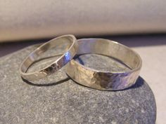 Silver Textured Wedding Band Set by kerstiewhiley on Etsy, £70.00