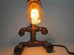 Retro Industrial Robot Design Iron Pipe Edison Table Lamp Desk Fixture 3