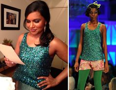 """Mindy Kaling wore this sparkly mermaid top on """"Jimmy Kimmel Live!"""" last night. It's from Moods of Norway AW '13 coll..."""
