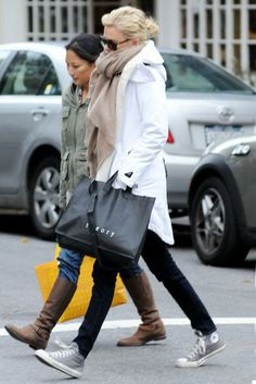 converse, scarf. charlize theron, jeans, parka