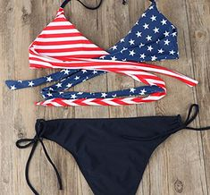 afd0ab7c96 Women  s Sexy American Flag Print Halter Bandage Bikini Sets 4th of July  Swimsuits Beachwear
