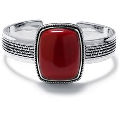 Simulated Red Jasper Sterling Silver Rectangular Cuff Bracelet ($234) ❤ liked on Polyvore featuring jewelry, bracelets, red jewellery, red cuff bracelet, artificial jewelry, red bangles and fake jewelry
