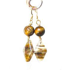 Golden Brown Dangle Earrings, drop Tiger Eye earrings neutral Cherry... (20 BGN) ❤ liked on Polyvore featuring jewelry, earrings, brown earrings, quartz earrings, gold brown earrings, gold jewelry and yellow gold earrings