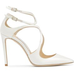 Jimmy Choo Lancer 100 pumps (3.965 RON) ❤ liked on Polyvore featuring shoes, pumps, white, white pointed-toe pumps, stiletto pumps, white pointed toe pumps, white leather shoes and white high heel shoes