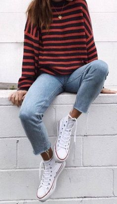stripped sweater + cute fall outfits + jeans + converse l Casual Street Style Fashion Basic Outfits, Casual Winter Outfits, Casual Fall Outfits, Mode Outfits, Summer Outfits, Fashion Outfits, Travel Outfits, Dress Casual, Converse Fashion