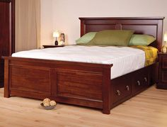 New solid wood bed frame decor Ideas Wood Bed Design, Bedroom Bed Design, Solid Wood Bed Frame, Bedroom Furniture, Bedroom Decor, Beds For Small Spaces, King Size Bed Frame, Bed Frame And Headboard, Wood Beds