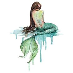 Imprimir de la sirena acuarela ❤ liked on Polyvore featuring backgrounds, mermaids, filler, people, detail, embellishment, water colour painting, ocean wall art, mermaid painting and water color painting
