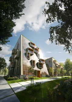 Framtidshusen är ett förslag innehållande två bostadshus till en markanvisningstävling för Norra Djurgårdsstaden som genomfördes av Stockholms Stad under våren 2014. Husen har en nytänkande utformning, bland annat genom användningen av färgade solceller som material på husens sluttande fasader. Ett djupgående hållbarhetstänkande sätter sin präglar även på flera av husens andra tekniska lösningar. Architecture Visualization, Architecture Photo, Amazing Architecture, Landscape Architecture, Green Building, Building A House, Mountain Villa, 3d Landscape, Futuristic City
