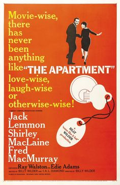 Director: Billy Wilder | Reparto: Jack Lemmon, Shirley MacLaine, Fred MacMurray | Género: Comedia | Sinopsis: C.C. Baxter (Jack Lemmon) es un modesto pero ambicioso empleado de una compañía de seguros de Manhattan. Está soltero y vive solo en un discreto apartamento que presta ocasionalmente a sus ...
