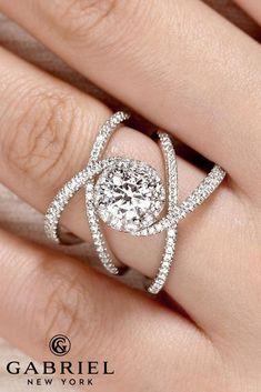 24 Gabriel & Co Engagement Rings Extraordinaire ❤️ 5 leone 18K white gold round halo diamond engagement rings ER13842 ❤️ See more: http://www.weddingforward.com/gabriel-co-engagement-rings/ #weddingforward #wedding #bride