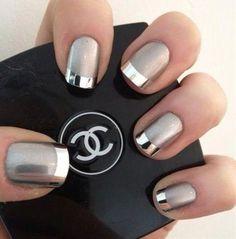 Grey & Silver Matte Nails