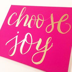 """Hot Pink """"Choose Joy"""" Canvas // 1921 By: Mollie Young on Etsy"""