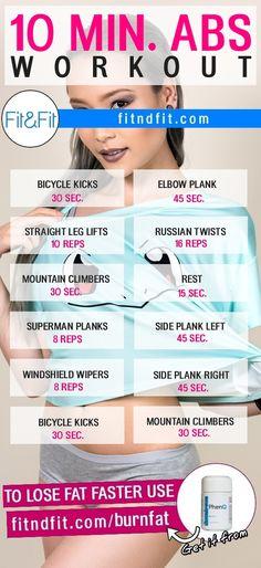 10 Minute Abs Workout! #fitness #bodybuilding #workout #gym #weightloss #fatloss #diet #loseweightfast #love #new #pinterest #london #newyork #uk #newyork #losangeles