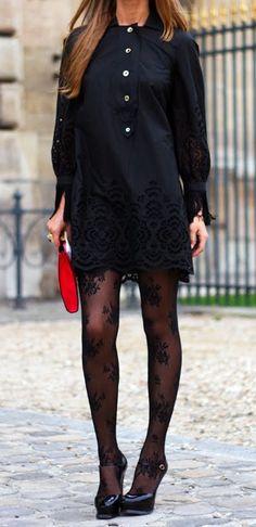 lace dress + tights