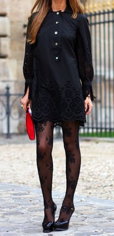 lace dress + tights