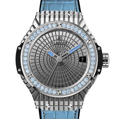 "HUBLOT -Big Bang Caviar ""Lady 305"" Collection-The ocean blue of the Big Bang Caviar ""Lady 305"" timepiece evokes the sand, sun and sea of South Florida. The 41 mm-diameter watch features a bezel set with 36 topazes, and it's solid case-back is engraved with a view of Miami's South Beach with the famous ""305"" area code. The strap of blue alligator sewn onto black rubber completes the watch, providing exceptional comfort, flexibility and resistance."