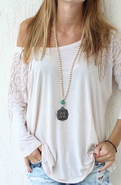 Long beaded Necklace  Crystal Beads with door lizaslittlethings, $40.00