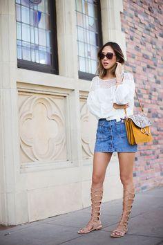 Chloé Faye handbag, denim skirt, boho blouse and gladiator sandals for a beautiful spring outing.