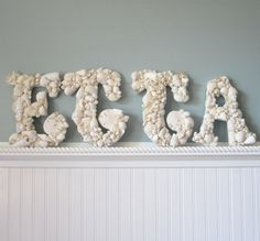 4pc Beach Decor Seashell Letters - Nautical Shell Letters, Choose any 4 in White or Natural