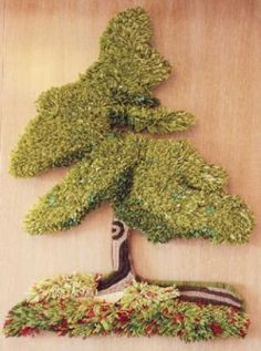 el árbol tapiz yute,lana 100 %,algodón bordado,