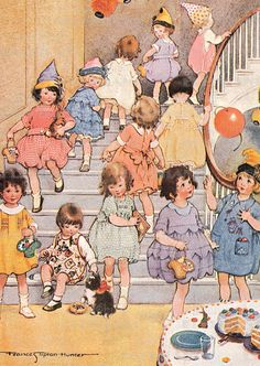Children's birthday party - vintage illustration by Frances Tipton Hunter