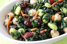 Recipe: Kale, Cranberry, Chickpea, Edamame Salad (aka Better than Trader Joe's Kale Salad)