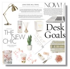 """""""Desk Goals: Pretty Workspaces"""" by nina-lala on Polyvore featuring interior, interiors, interior design, dom, home decor, interior decorating, Ted Baker, Tocca i Lenox"""
