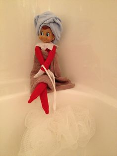 Spa Day Elf on the Shelf. Click for more ideas! #elfontheshelf