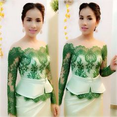 Yuk Chinda is a MC Star at Cambodian Television Network (CTN) widely known for her ability to articulate clearly. African Lace, African Wear, African Women, African Dress, African Fashion, Traditional Fashion, Traditional Dresses, Modern Traditional, Kebaya Dress