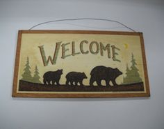 welcome black bear lodge wooden wall art sign camper lake decor  cabin