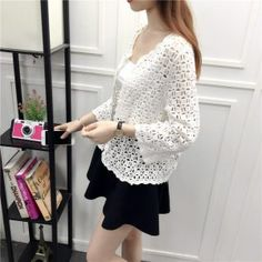 Camisas Mujer 2017 Spring Summer Crochet White Lace Blouse Women Fashion Tops Sexy Hollow Out Knitted Cardigan Chemise Femme 14 White Lace Blouse, White Beige, Sweaters For Women, Bell Sleeve Top, Womens Fashion, Dresses, Front Porches, Crochet Ideas, Spring Summer