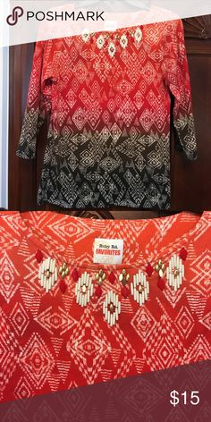 Ruby road blouse Cotton and spandex material. Aztec print and beaded neck Tops Blouses