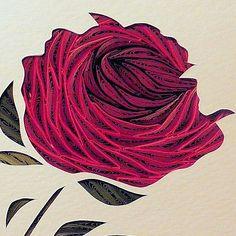 Quilled Red Rose Framed original handmade wall art