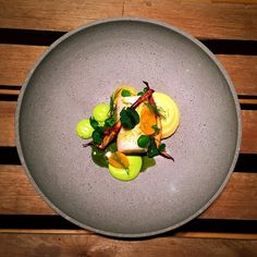 Halibut, Baked Egg Yolk Chips, Pea Cream, Potato Puree, Fried Parsnip, and Dill Butter - Kenny Hansen - The ChefsTalk Project