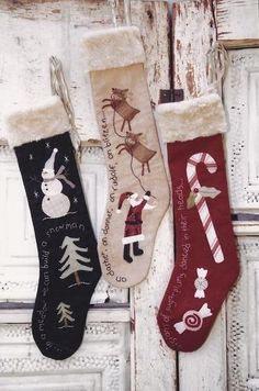 Snowman, Santa, and Candy Cane Applique Antique Christmas stockings Pattern $10