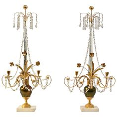 Pair of Louis XVI style gilt and silvered cast bronze and cut glass 3 light girandoles, Russia c. 1790